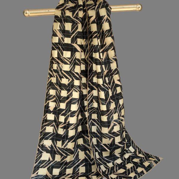 Silk Woven Scarf, Black & Beige