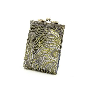 Brocade Peacock Feather Pattern Card Holder with RFID