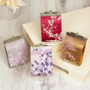 Cherry Blossom, Gray  Card Holder with RFID