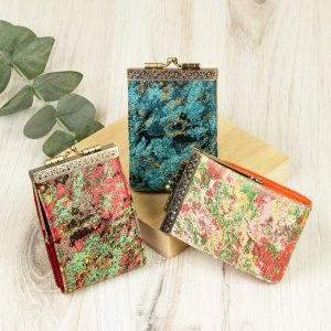 Abstract Pattern Red Green, Brocade Card Holder with RFID