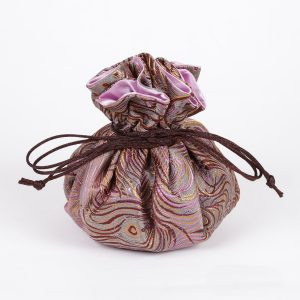 Peacock Feather Pattern Brocade Jewelry Pouch