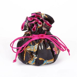 Dragonfly or Butterfly  Brocade Jewelry Pouch